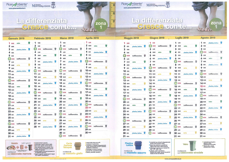 Calendario Raccolta.Raccolta Porta A Porta Calendario 2019 Comune Di